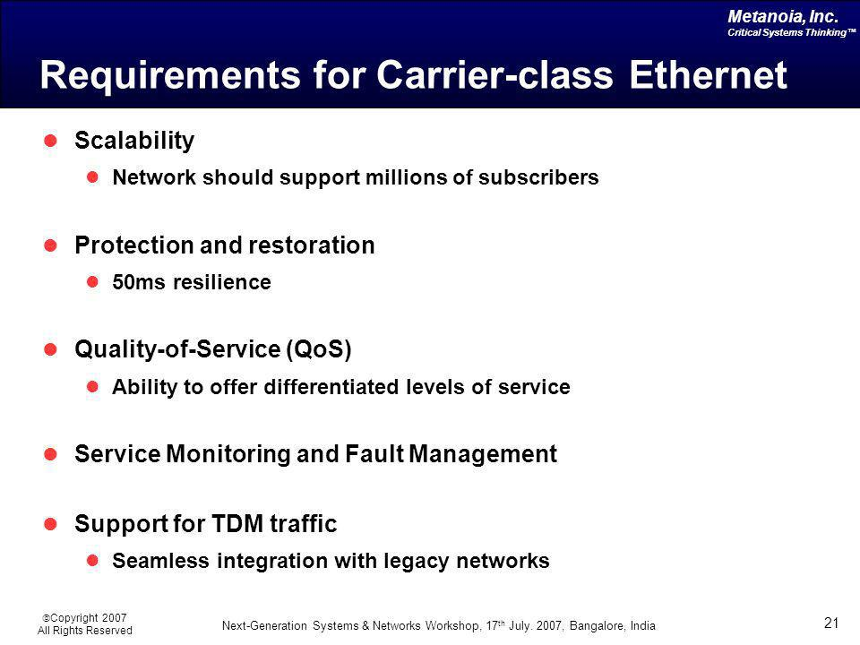Requirements for Carrier-class Ethernet