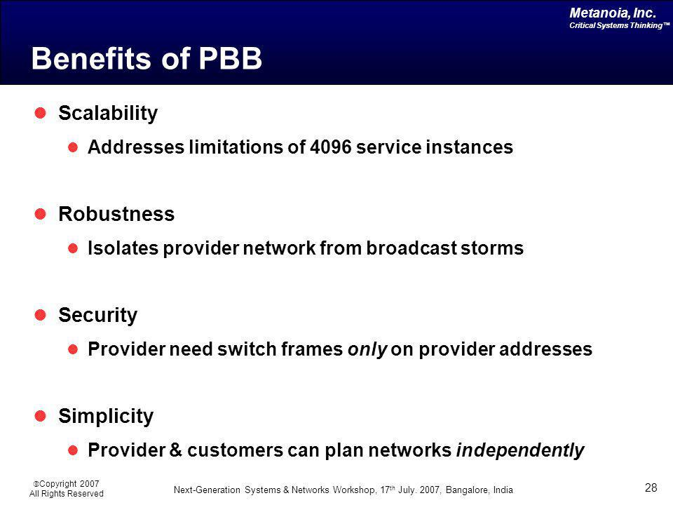Benefits of PBB Scalability Robustness Security Simplicity