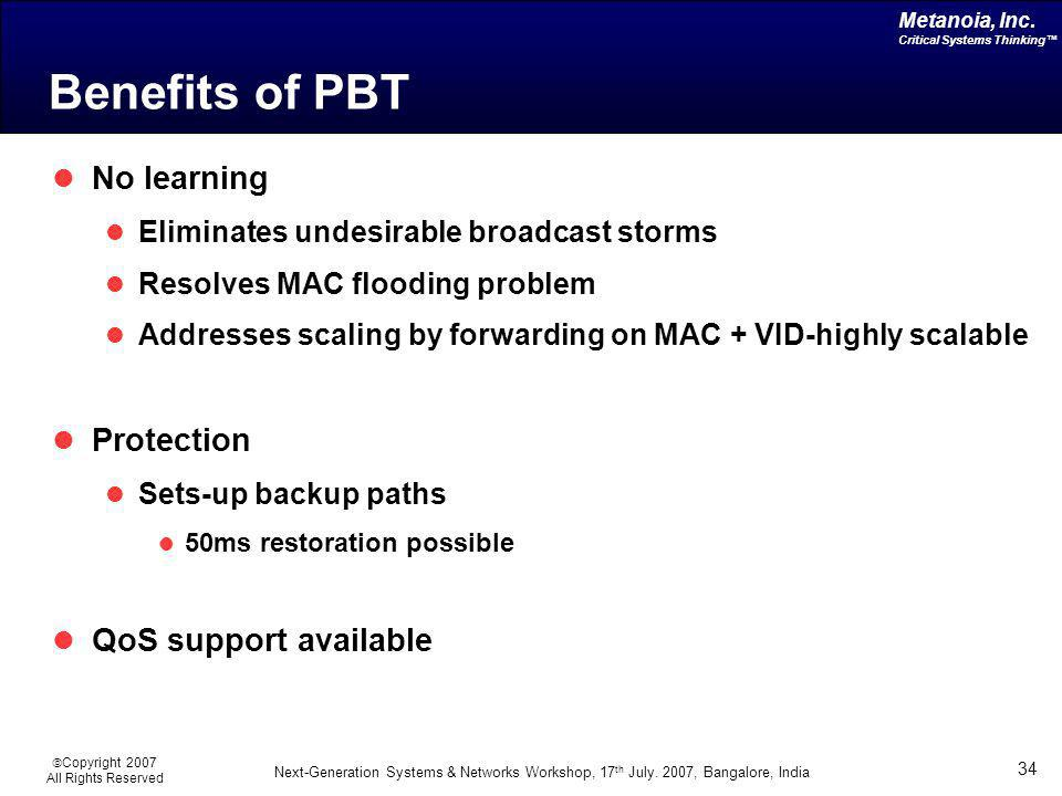 Benefits of PBT No learning Protection QoS support available