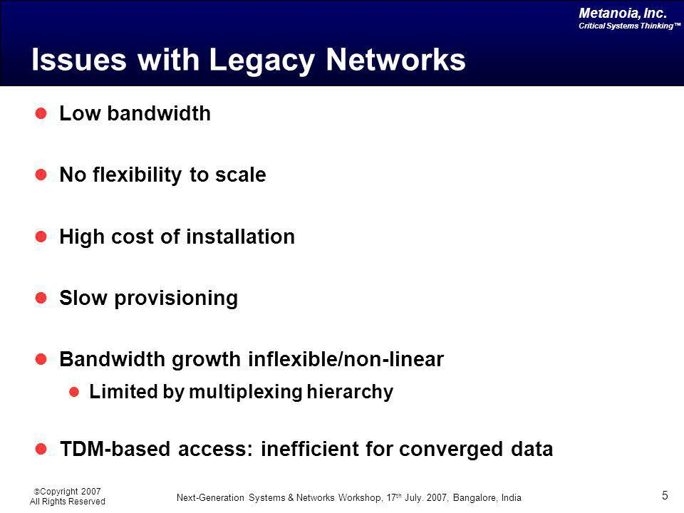 Issues with Legacy Networks