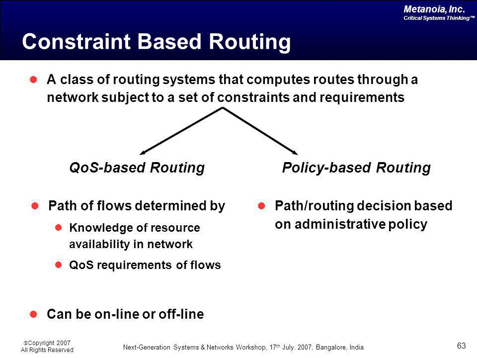 Constraint Based Routing