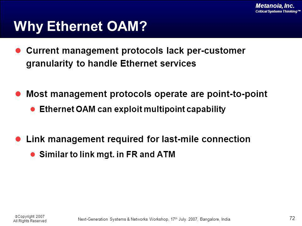 Why Ethernet OAM Current management protocols lack per-customer granularity to handle Ethernet services.