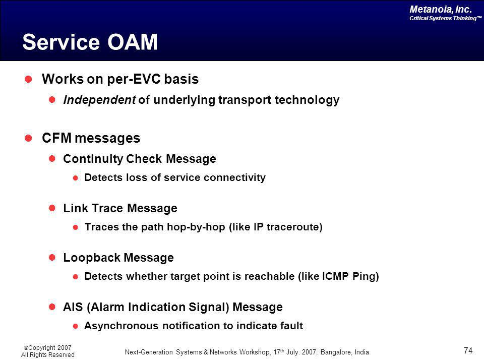 Service OAM Works on per-EVC basis CFM messages