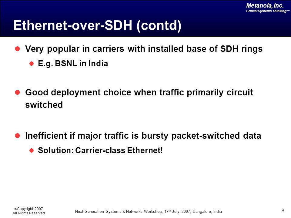 Ethernet-over-SDH (contd)