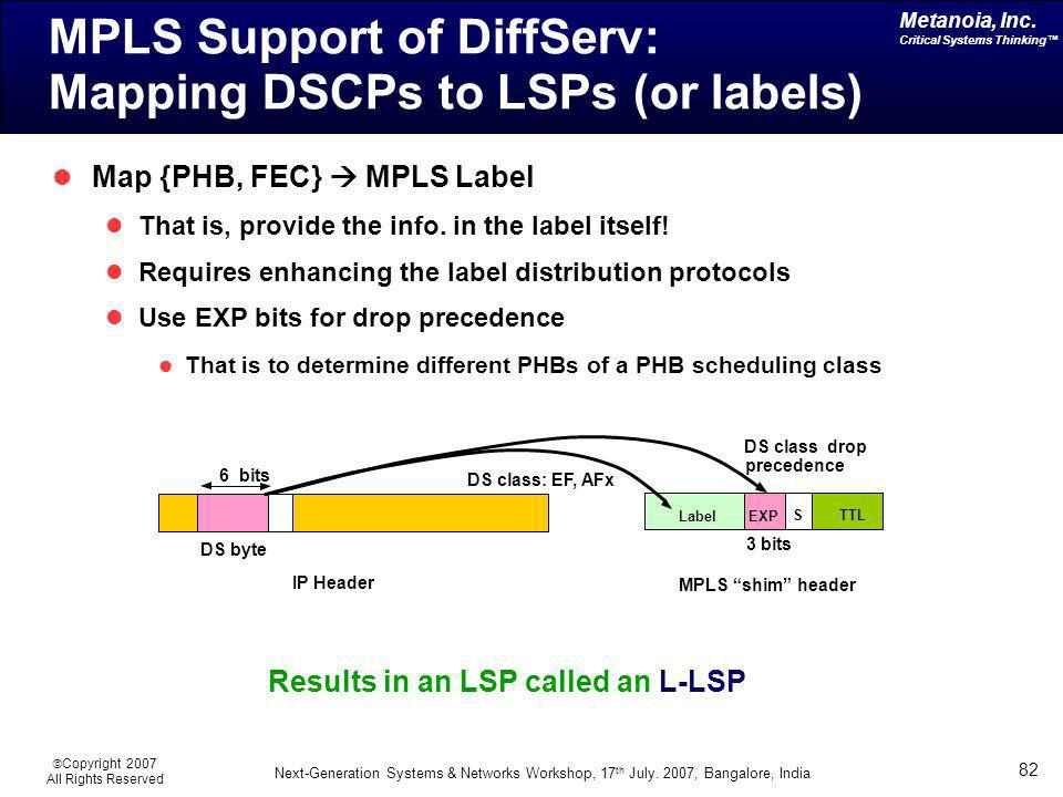 MPLS Support of DiffServ: Mapping DSCPs to LSPs (or labels)