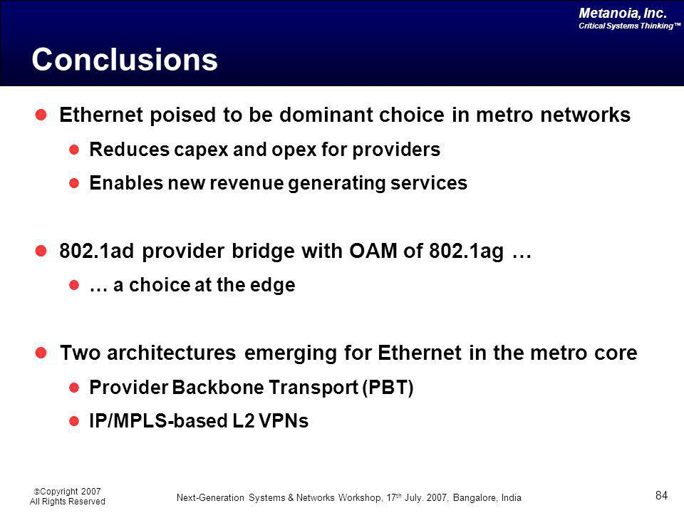 Conclusions Ethernet poised to be dominant choice in metro networks