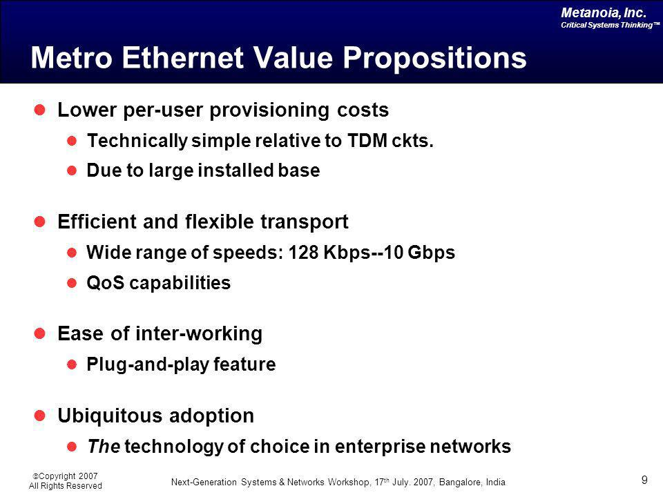Metro Ethernet Value Propositions
