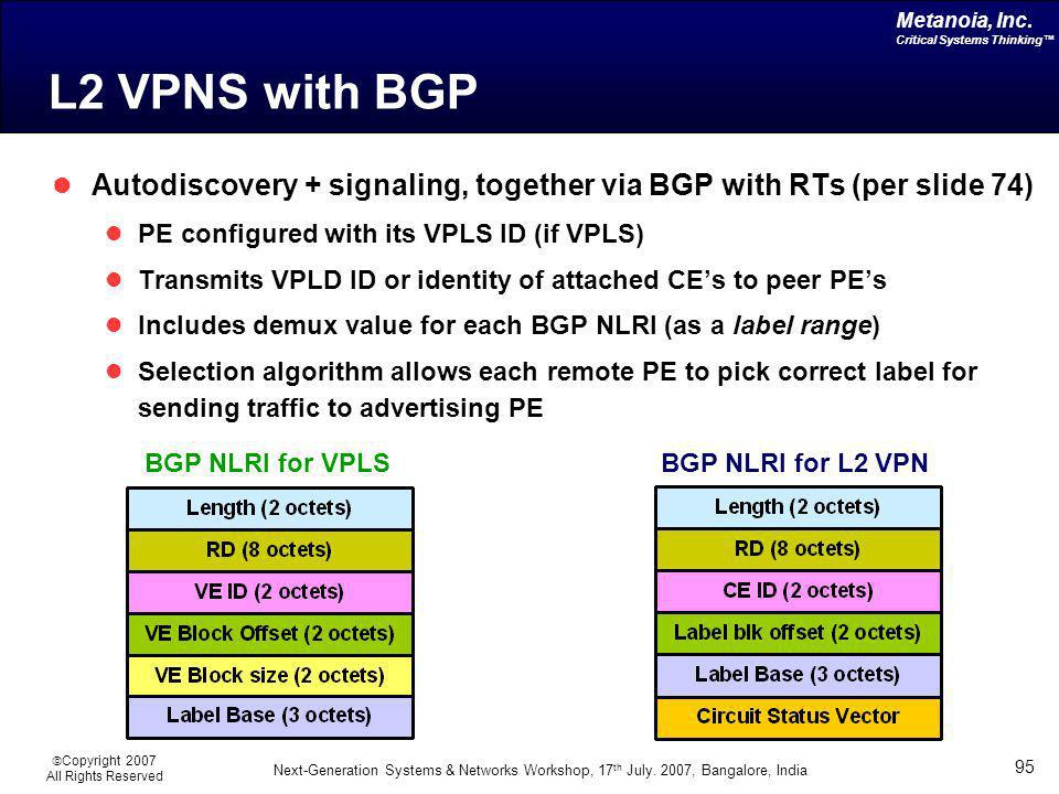 L2 VPNS with BGP Autodiscovery + signaling, together via BGP with RTs (per slide 74) PE configured with its VPLS ID (if VPLS)