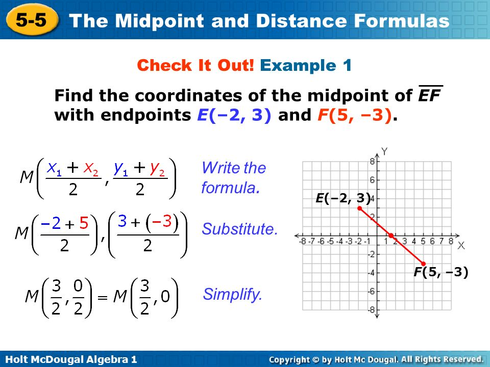 Check It Out! Example 1 Find the coordinates of the midpoint of EF with endpoints E(–2, 3) and F(5, –3).