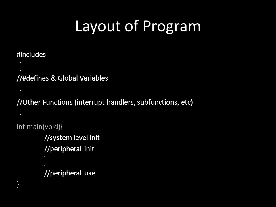 Layout of Program #includes //#defines & Global Variables