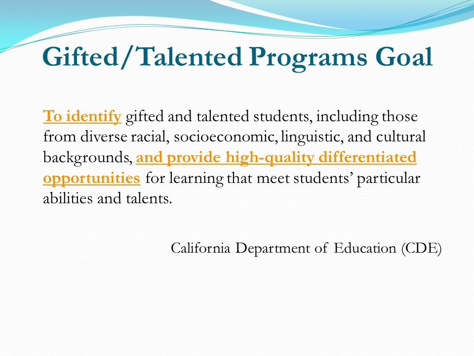 Gifted/Talented Programs Goal