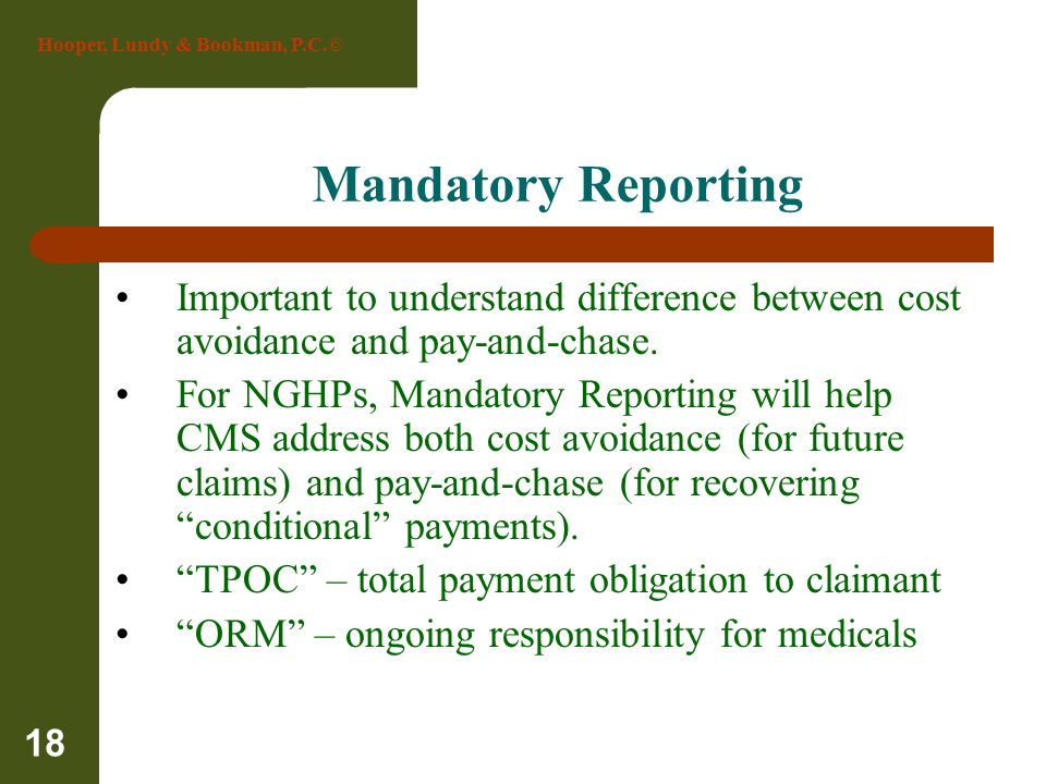 Mandatory Reporting Important to understand difference between cost avoidance and pay-and-chase.