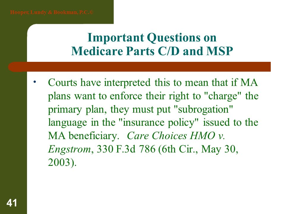 Important Questions on Medicare Parts C/D and MSP