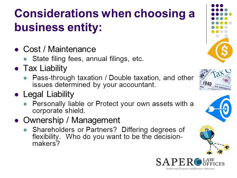 Considerations when choosing a business entity: