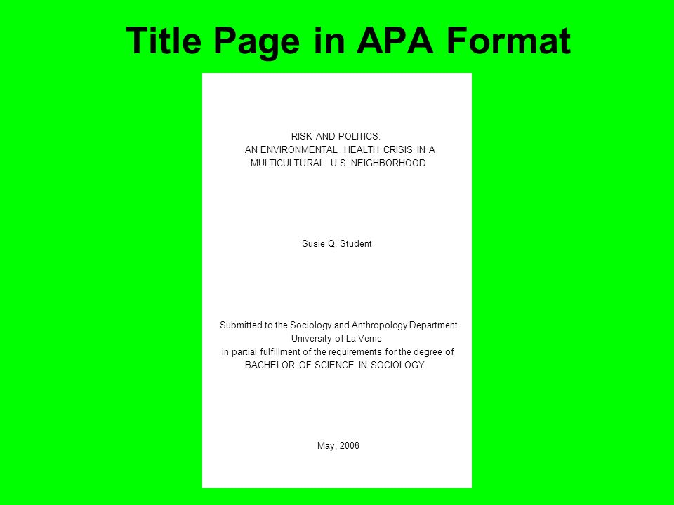Title Page in APA Format