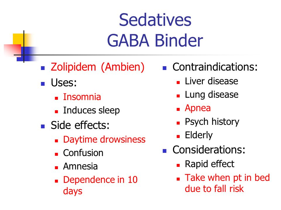 Sedatives GABA Binder Zolipidem (Ambien) Uses: Side effects: