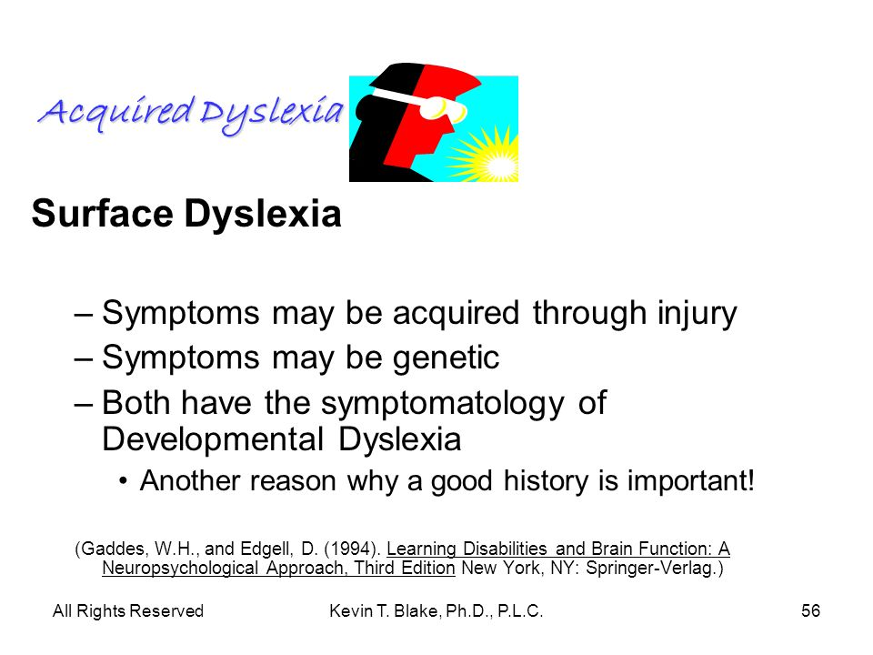 Acquired Dyslexia Surface Dyslexia