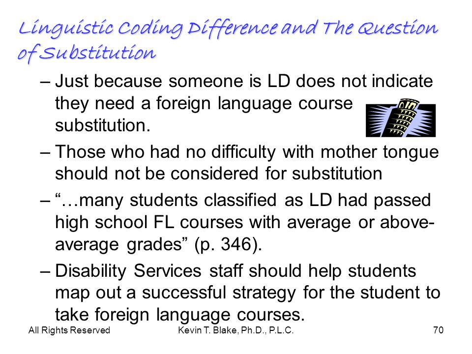 Linguistic Coding Difference and The Question of Substitution