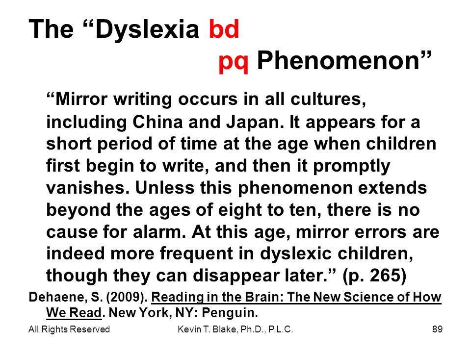 The Dyslexia bd pq Phenomenon