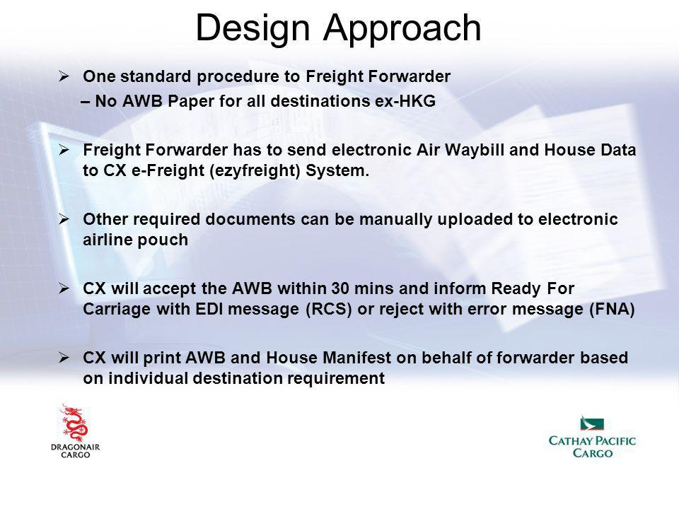Design Approach One standard procedure to Freight Forwarder