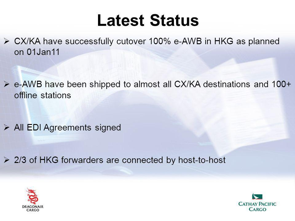 Latest Status CX/KA have successfully cutover 100% e-AWB in HKG as planned on 01Jan11.