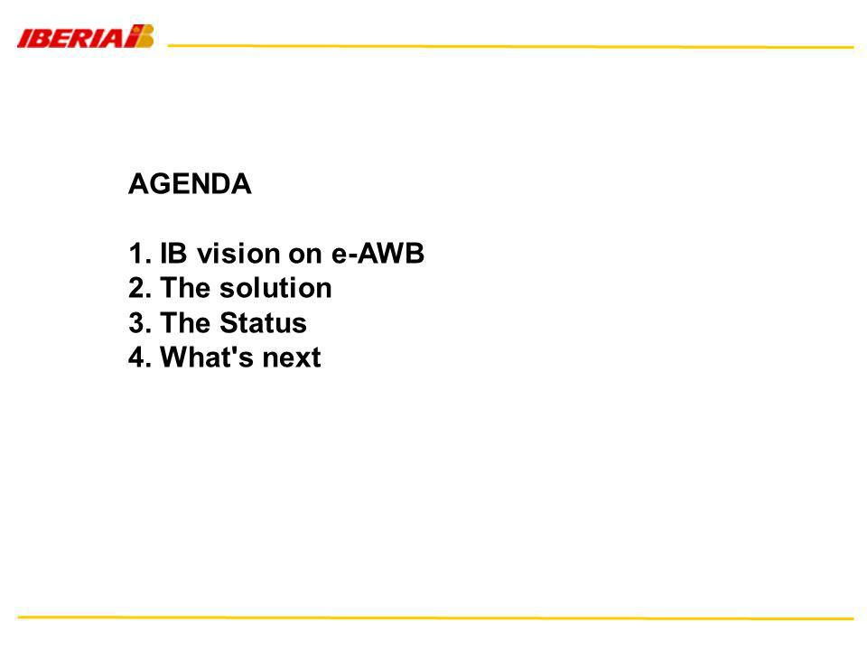 AGENDA 1. IB vision on e-AWB 2. The solution 3. The Status 4. What s next