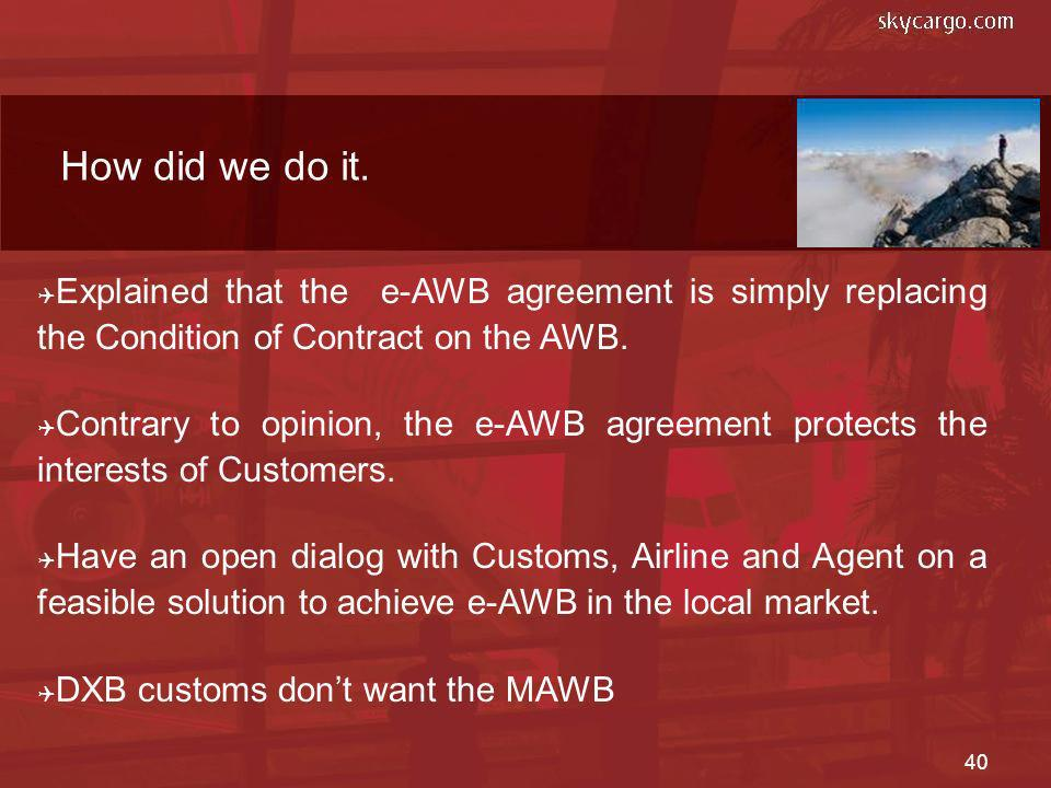 How did we do it. Explained that the e-AWB agreement is simply replacing the Condition of Contract on the AWB.