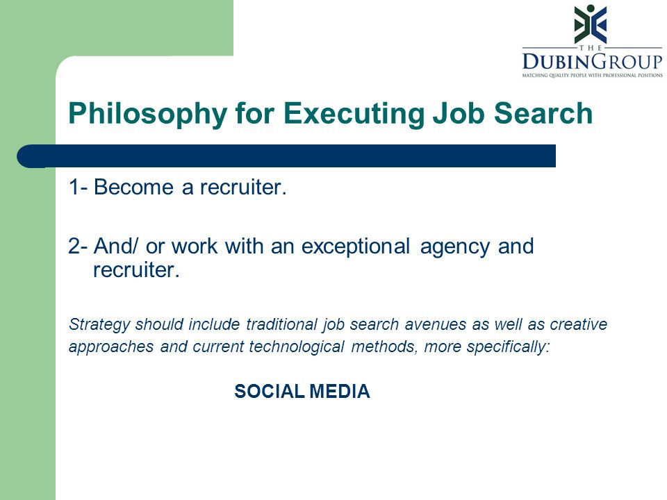 Philosophy for Executing Job Search