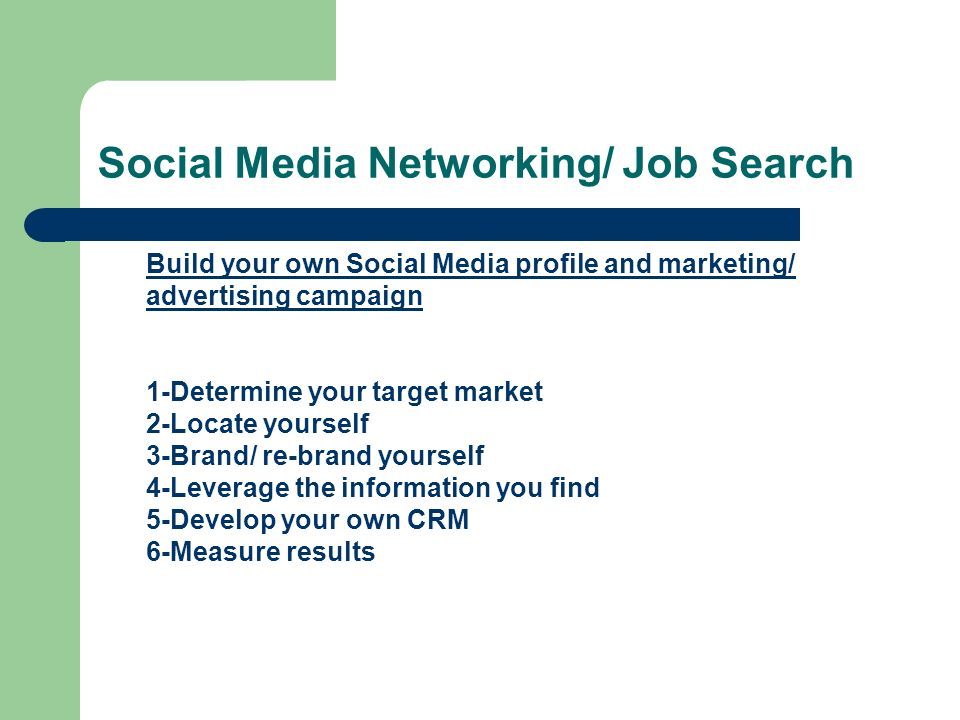 Social Media Networking/ Job Search