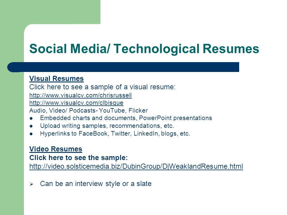 Social Media/ Technological Resumes