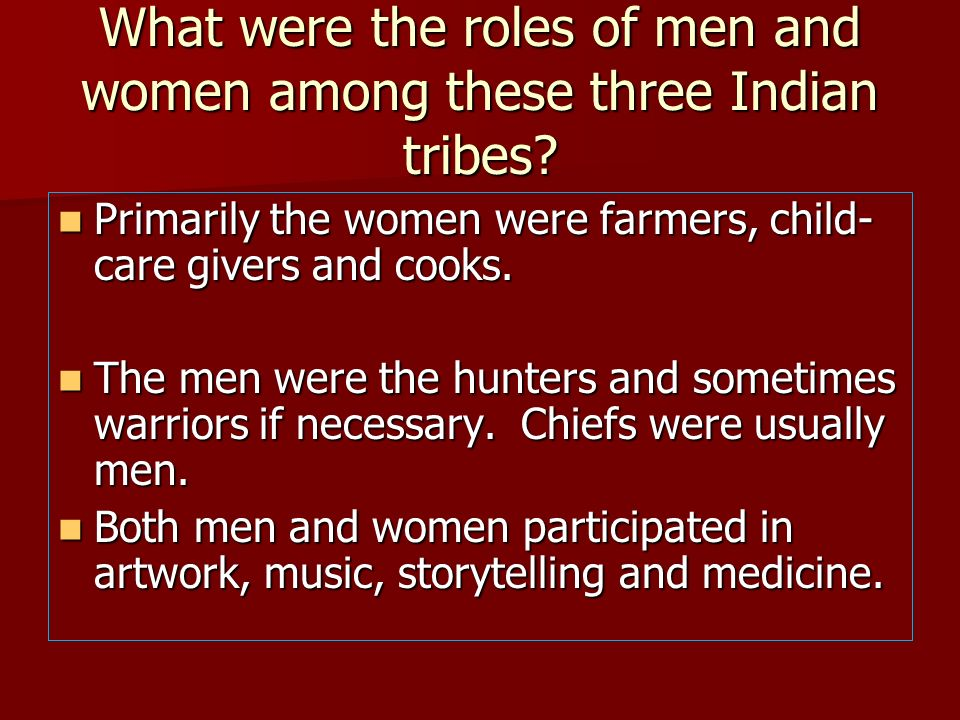 What were the roles of men and women among these three Indian tribes