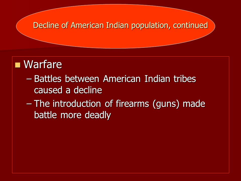 Decline of American Indian population, continued