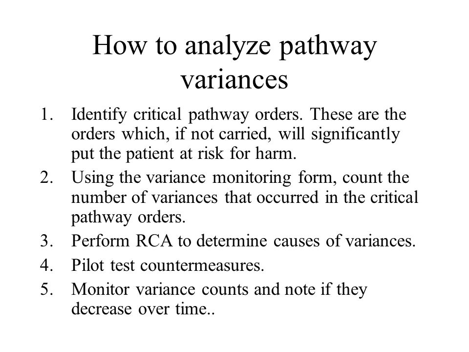 How to analyze pathway variances