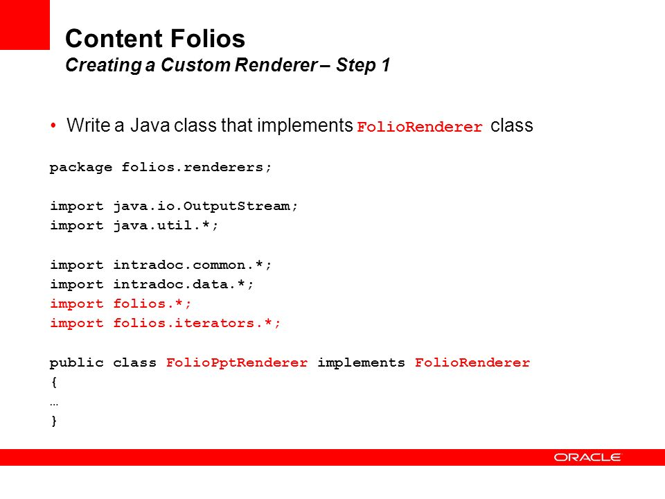 Content Folios Creating a Custom Renderer – Step 1