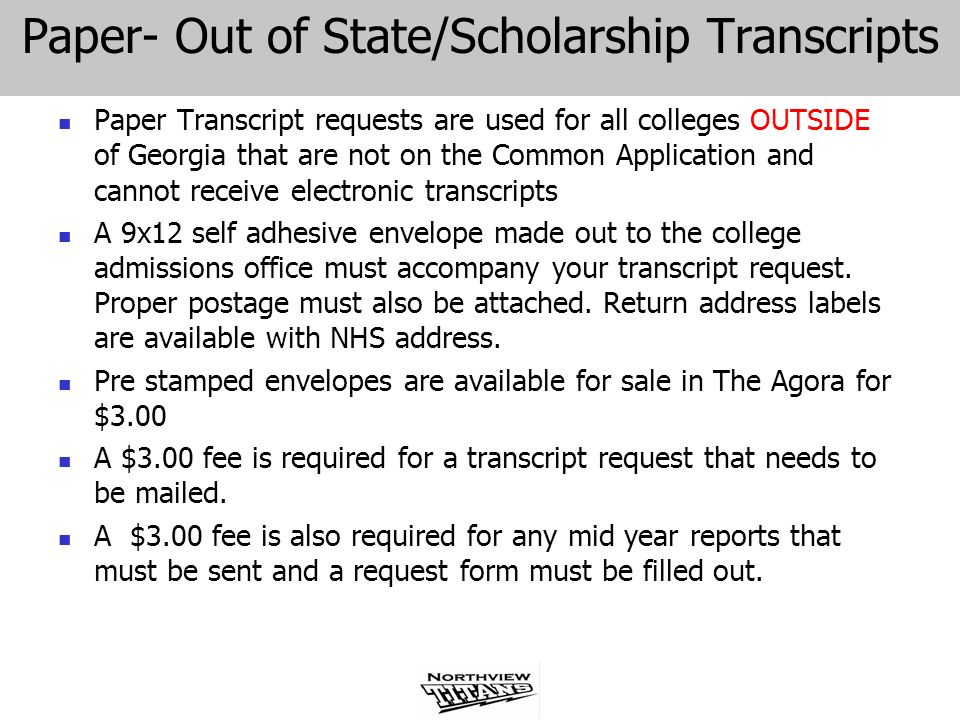 Paper- Out of State/Scholarship Transcripts