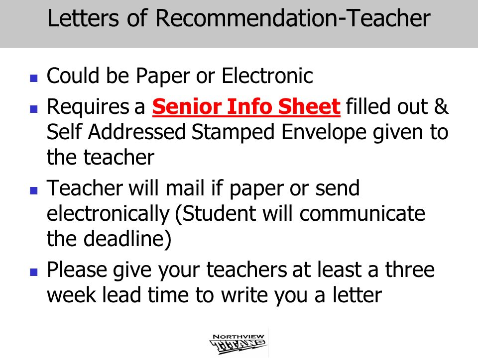 Letters of Recommendation-Teacher