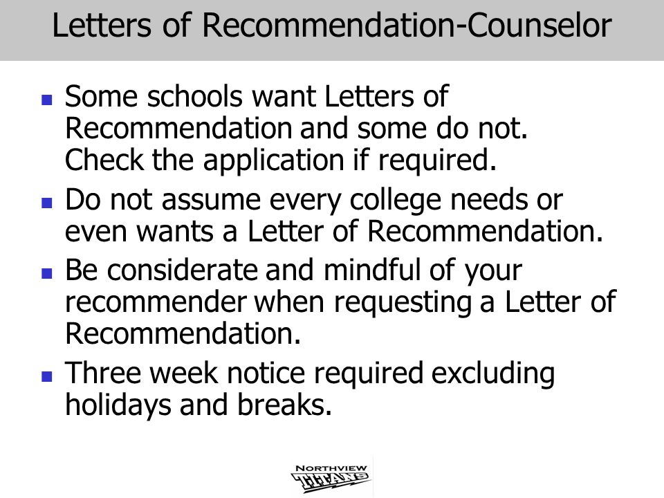 Letters of Recommendation-Counselor