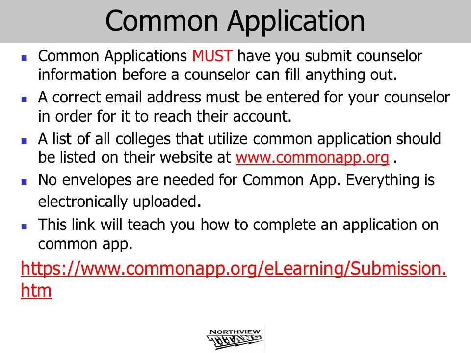 Common Application https://www.commonapp.org/eLearning/Submission.htm