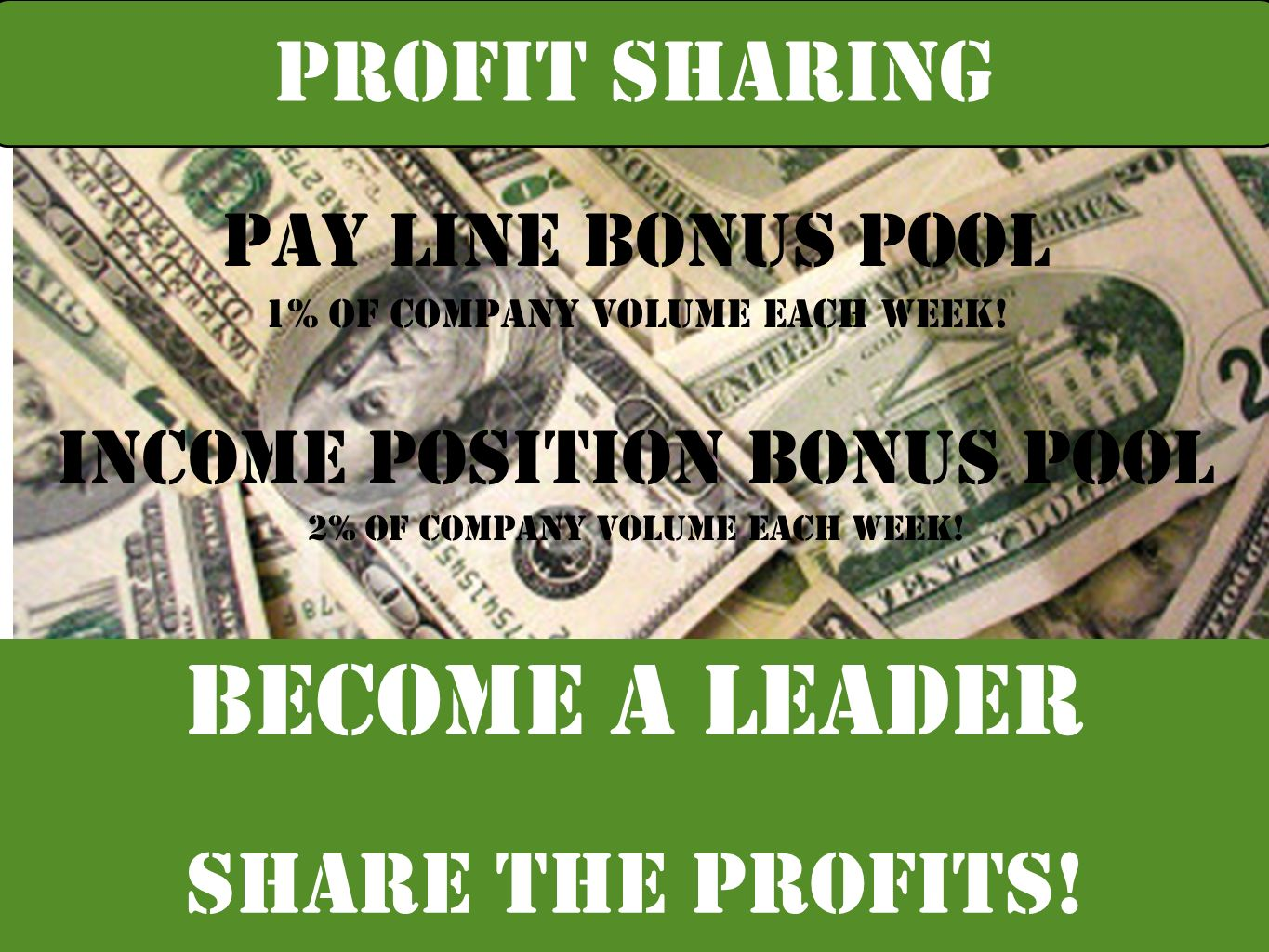 Become a leader PROFIT SHARING share the profits! Pay Line Bonus Pool