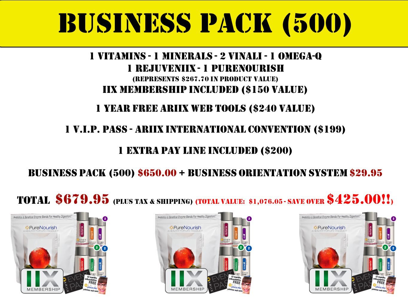Business Pack (500) 1 Vitamins - 1 Minerals - 2 Vinali - 1 Omega-Q. 1 Rejuveniix - 1 PureNourish. (Represents $ in Product Value)