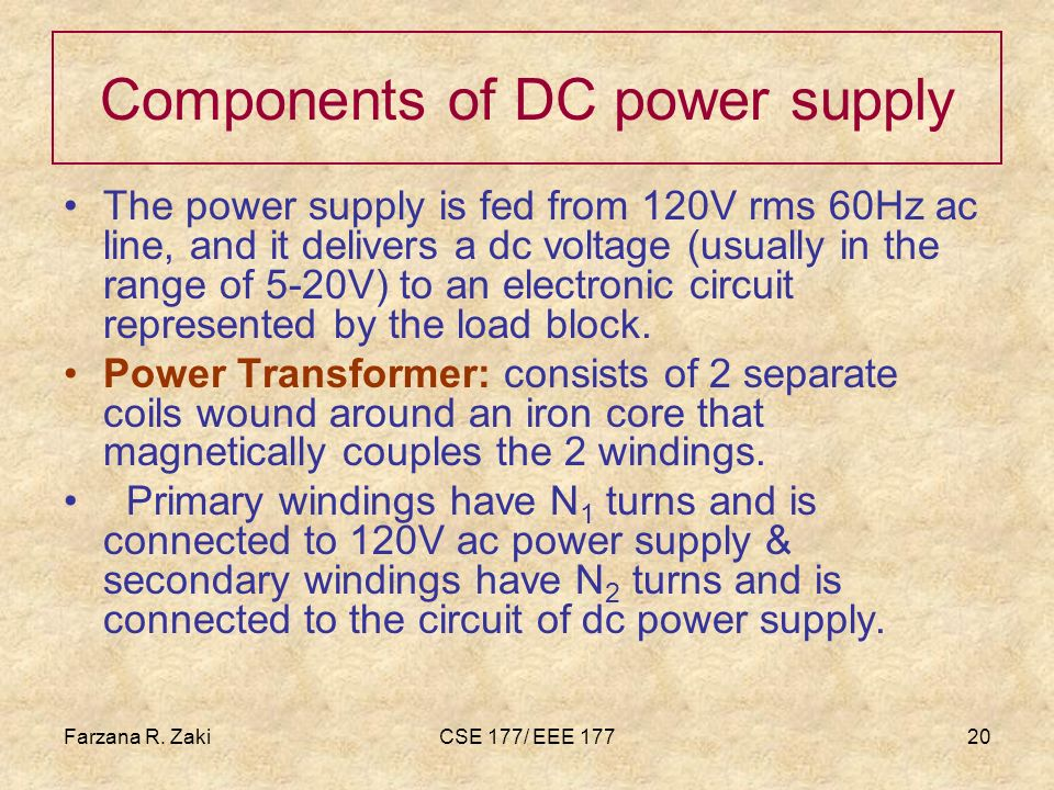Components of DC power supply