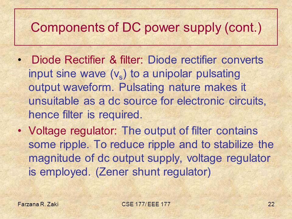 Components of DC power supply (cont.)
