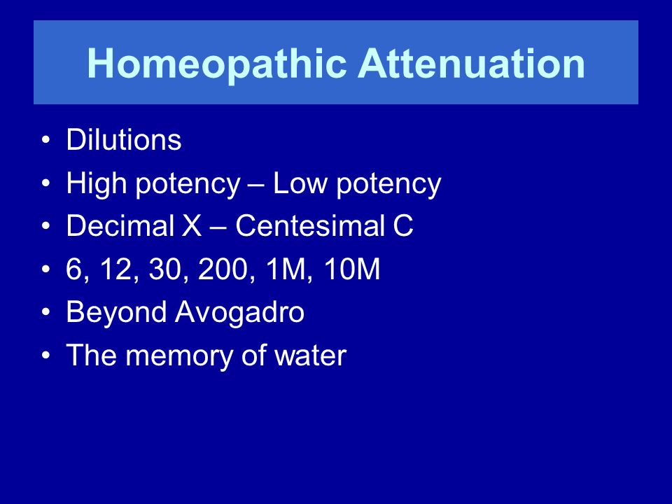 Homeopathic Attenuation