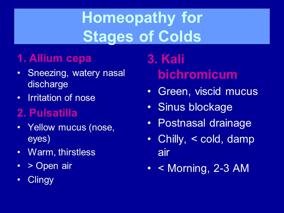 Homeopathy for Stages of Colds