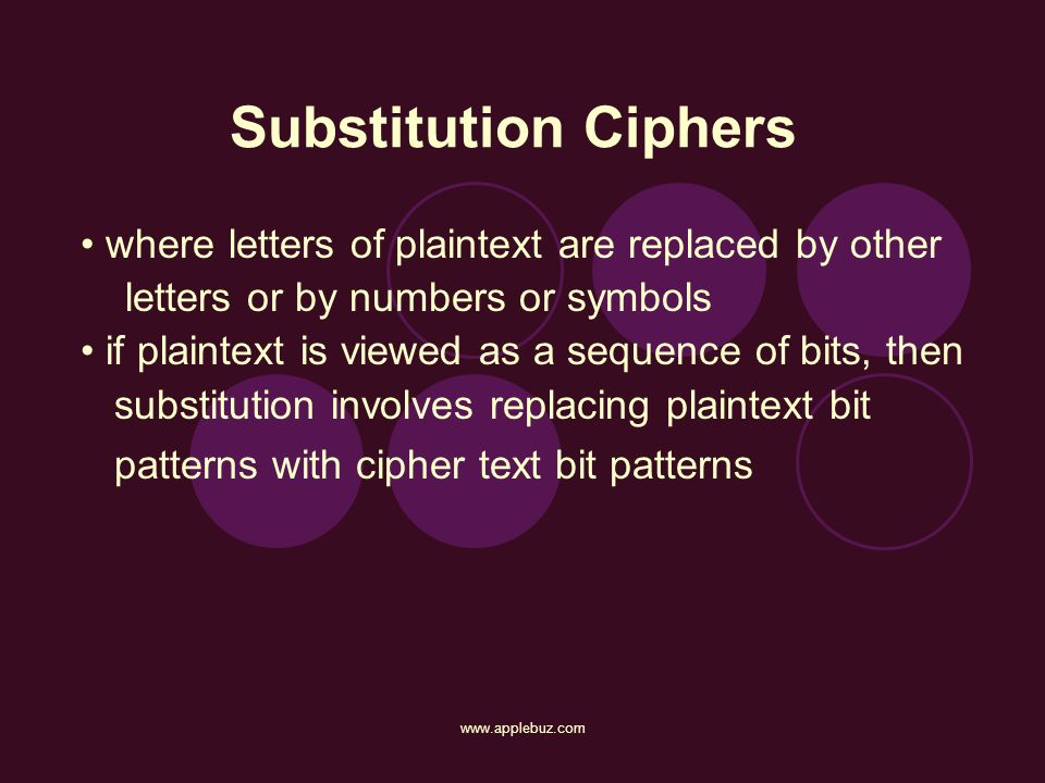 Substitution Ciphers where letters of plaintext are replaced by other
