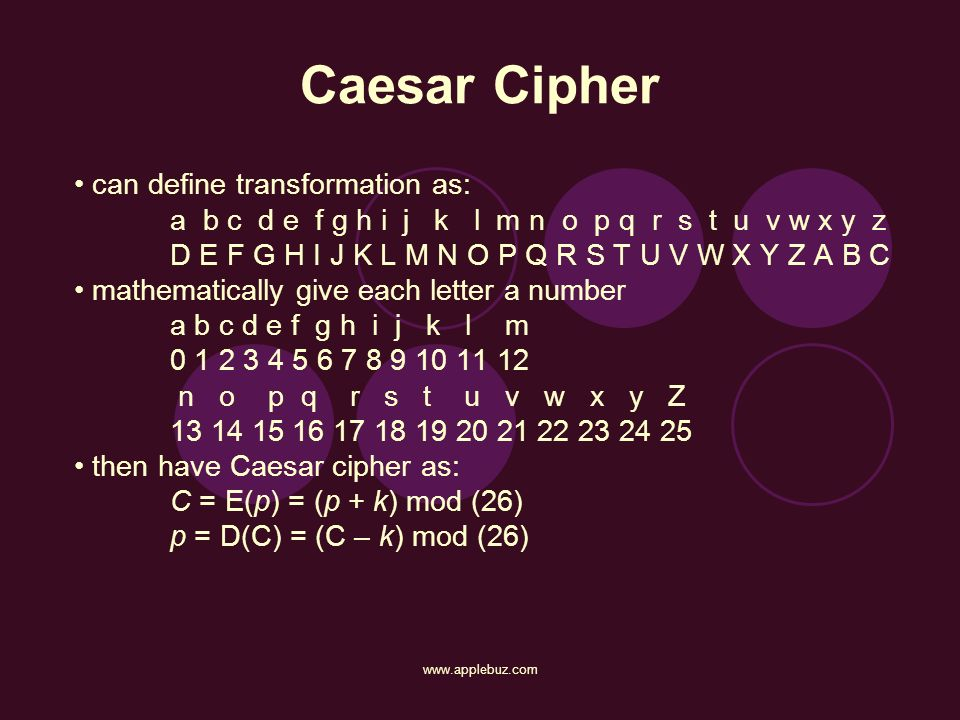 Caesar Cipher • can define transformation as: