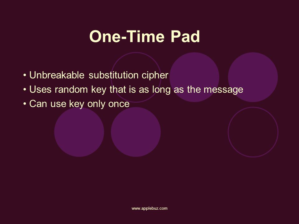 One-Time Pad • Unbreakable substitution cipher