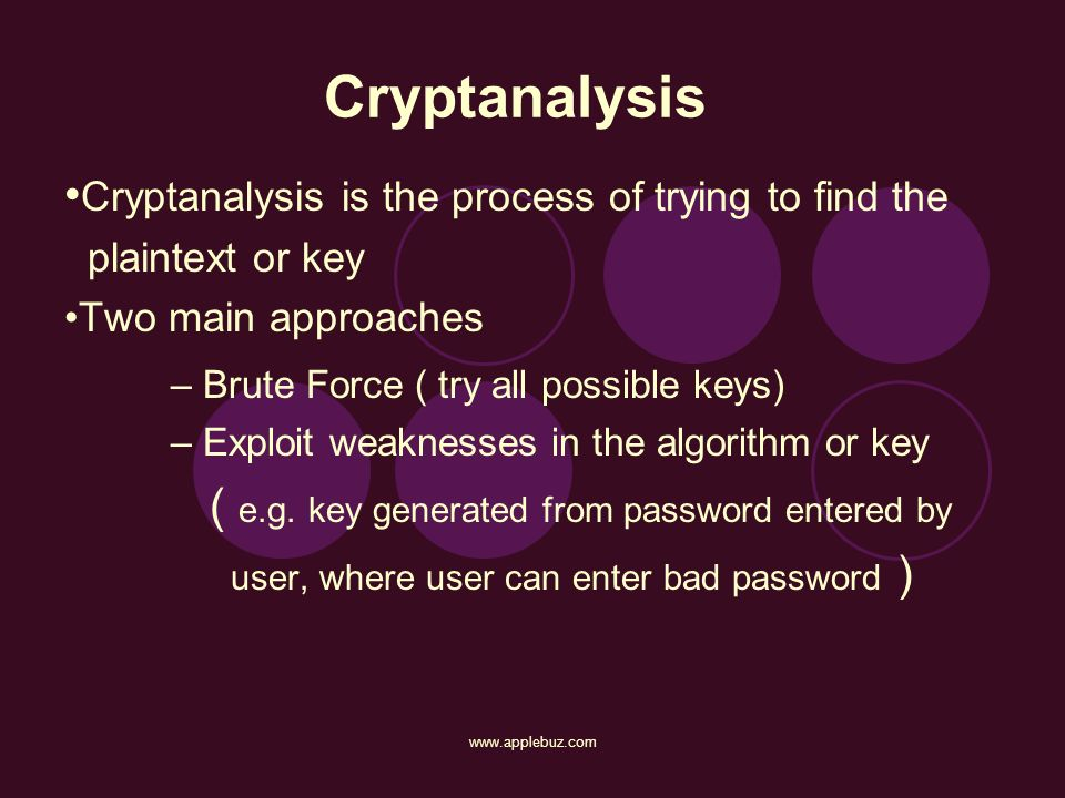 Cryptanalysis •Cryptanalysis is the process of trying to find the