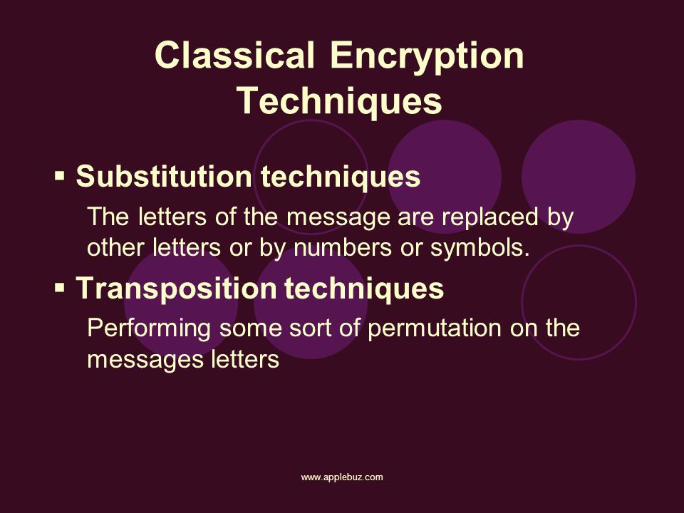 Classical Encryption Techniques