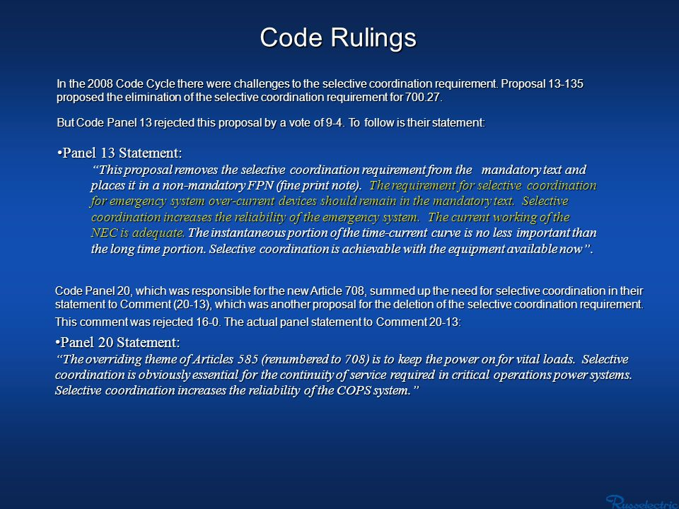 Code Rulings Panel 13 Statement: Panel 20 Statement: